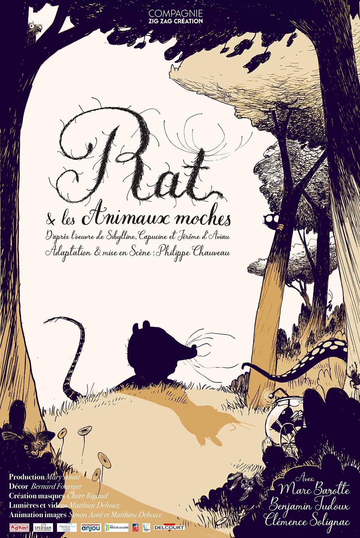 Affiche Rat et les Animaux moches, spectacle de la compagnie Zig Zag Création