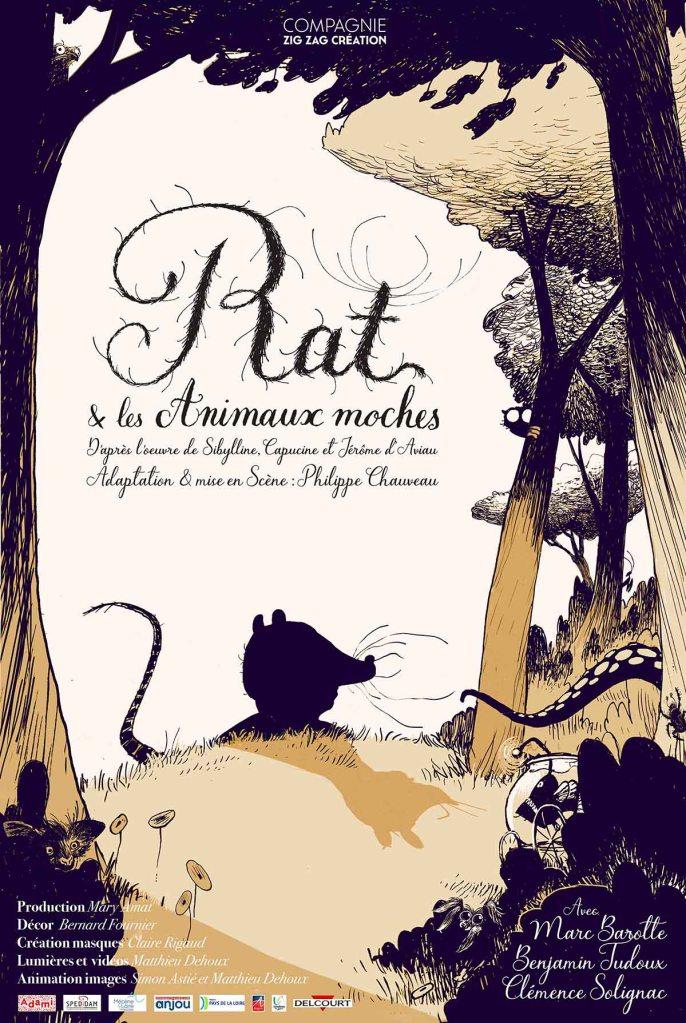 Affiche du Spectacle jeune public Rat et les Animaux moches, création 2020, Cie Zig Zag