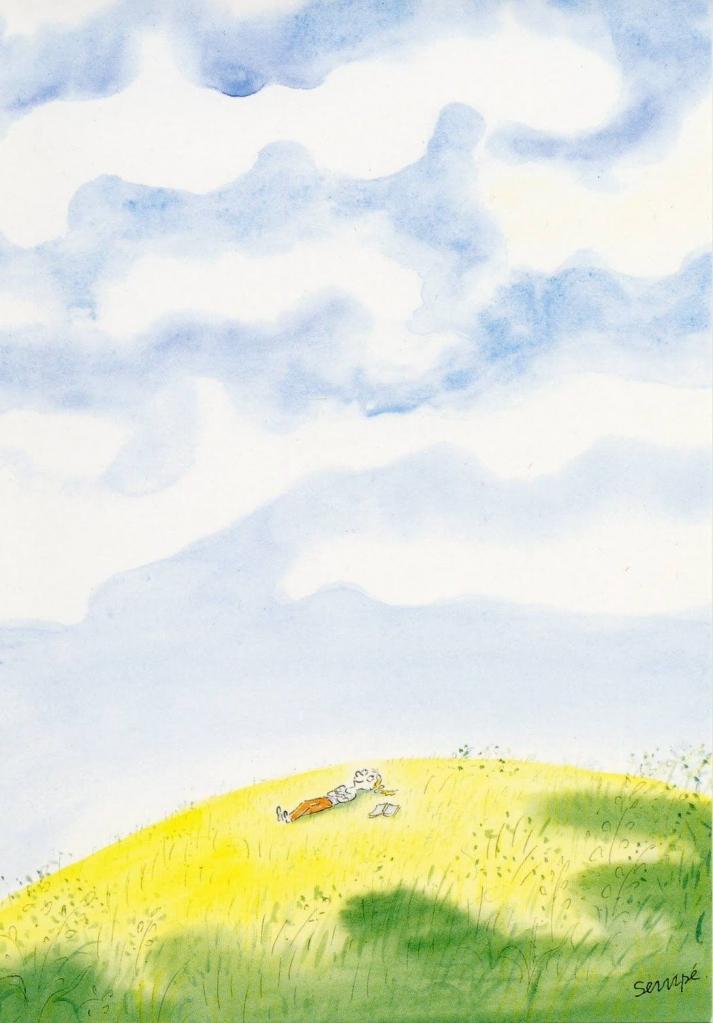 Sempé, ©Galerie Martine Gossieaux Petite file allongée dans l'herbe, Enfance