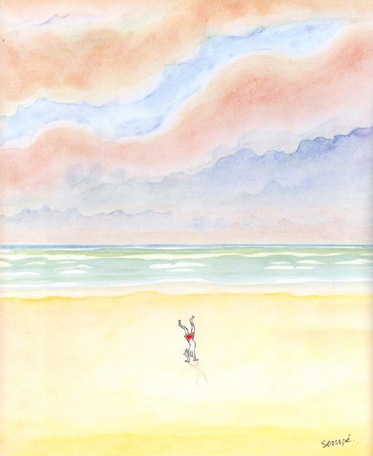 Sempé, ©Galerie Martine Gossieaux Acrobatie d'enfant sur la plage. Ciel coloré. Enfance