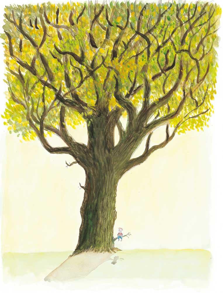 Jean-Jacques Sempé, ©Galerie Martine Gossieaux Aquarelle arbre, enfant, enfance.